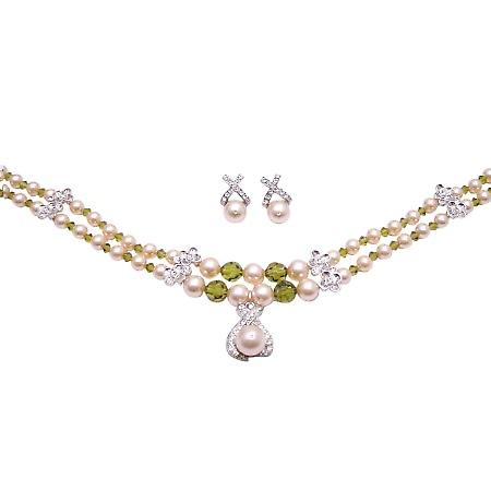 Custom Handcrafted Contemporary Design Peach Olive Crystals Necklace
