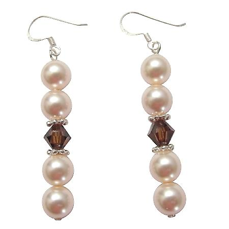 Austrian Jewelry Ivory Pearl Smoked Topaz Bali Silver Spacer Earrings
