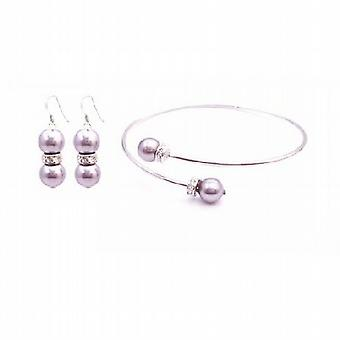 Bridesmaid Lavender Dress Lite Purple Swarovski Pearl Bracelet Earring