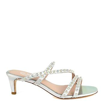 Ash KATE PEARL Heel Sandals Silver Leather