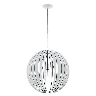 EGLO - Cossano singel ljus stora taket pendel i vit Finish med trä skugga EG94439
