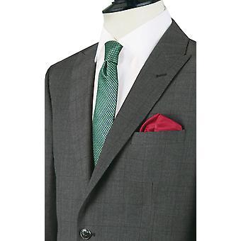 Doball Mens houtskool Suit jas Regular Fit piek revers Windowpane Check