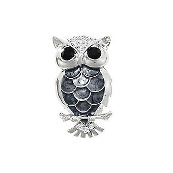 Eternal Collection Ollie The Owl Enamel And Clear Crystal Silver Tone Bird Brooch