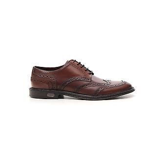 Dolce E Gabbana Brown Leather Lace-up Shoes