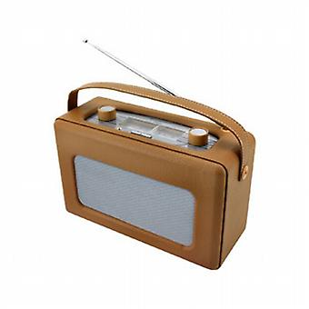 Brown faux leather analog radio