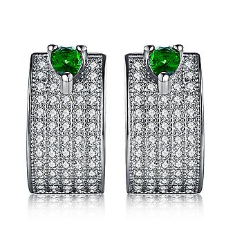 925 Sterling Silver Pave Green Thick Hoop Earrings