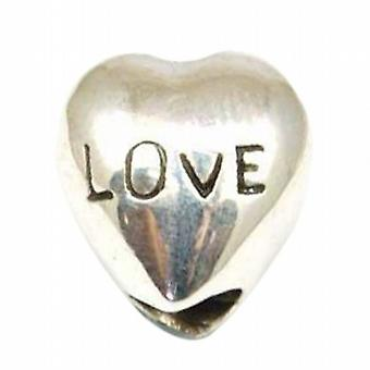 TOC BEADZ 925 Silver LOVE Heart 10mm Slide-on Bead