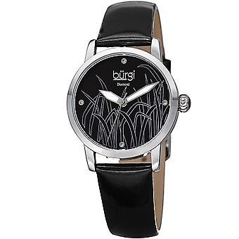 Burgi Women's Diamond Reed Design Dial Silver-Tone/ Black Leather Strap Watch BUR173BK