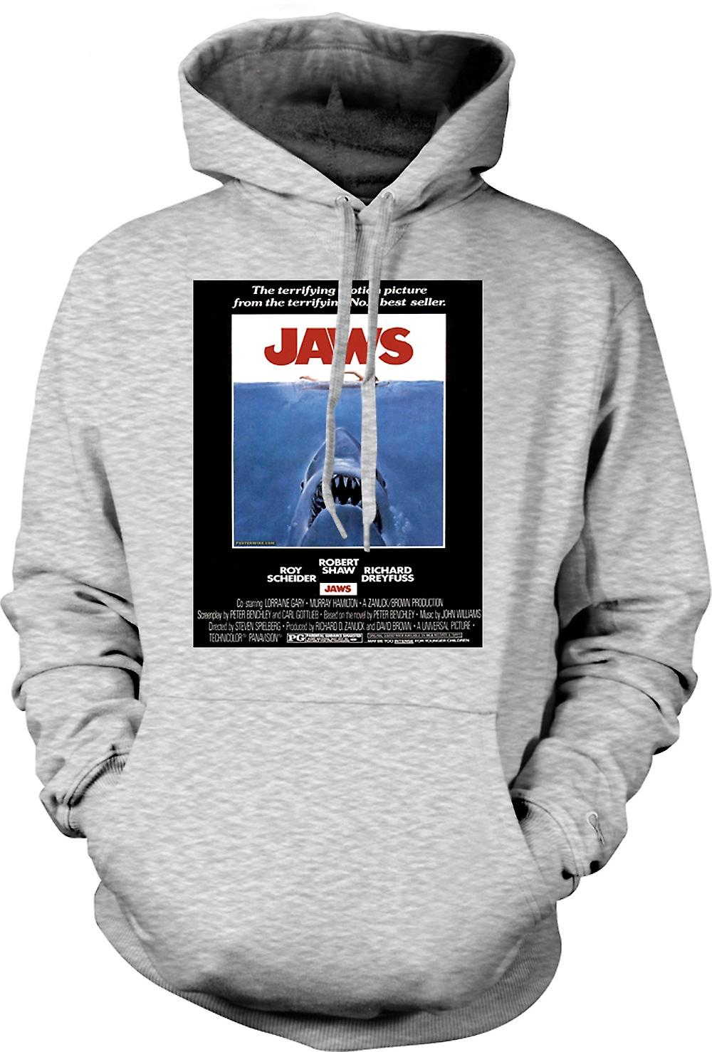 Mens Hoodie - Jaws - Horror - Shark - B Movie - Poster