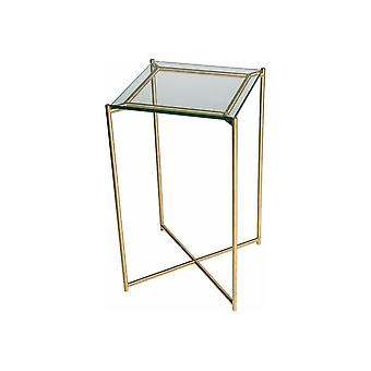 Gillmore Space Clear Glass Square Lamp Table With Brass Cross Base