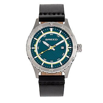 Breed Mechanic Leather-Band Watch w/Date - Teal