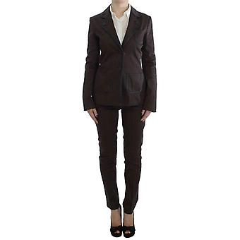 Exte Brown Stretch Two Button Suit -- SIG3770053