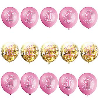 TRIXES 1ST Birthday Balloons for Baby Girl 15 Pink and White with Gold Ribbon