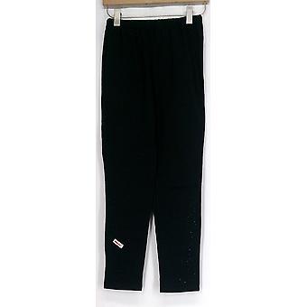 Antthony Petite Black Basic Ponte Knit Sequin Embellished Leggings