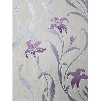 Pink Lily Floral Wallpaper Leaf Cream Silver Metallic Textured Paste Wall P+S