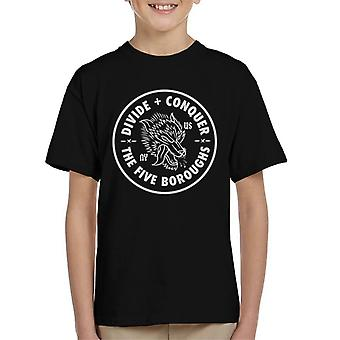 Divide & Conquer Five Boroughs Wolf Kid's T-Shirt