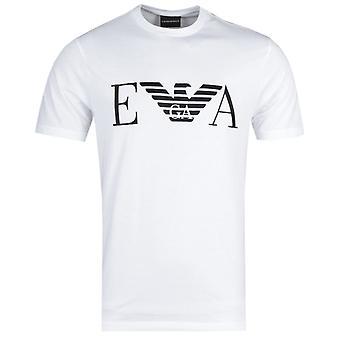 Emporio Armani bordado grande logotipo branco T-shirt