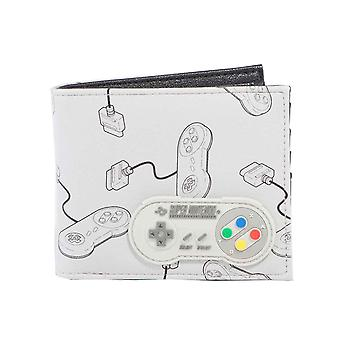 Nintendo Wallet SNES Controller In tutto sulla stampa Rubber Patch nuovo bifold ufficiale