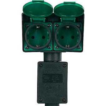Weatherproof socket strip 2x Black, Green Renkforce 1168610