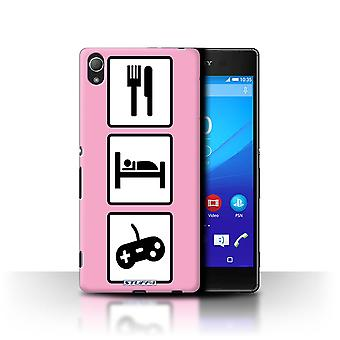 STUFF4 Case/Cover for Sony Xperia Z4/Game/Gaming/Pink/Eat/Sleep