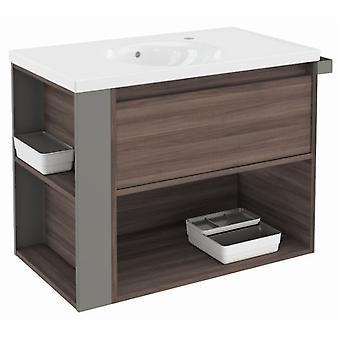 Bath+ 1 Drawer Cabinet + Shelf With Porcelain Basin Fresno-Grey 80CM