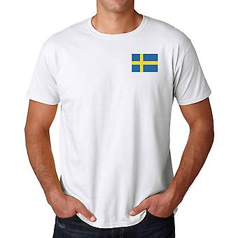 Sweden Flag Embroidered Logo - Cotton T Shirt