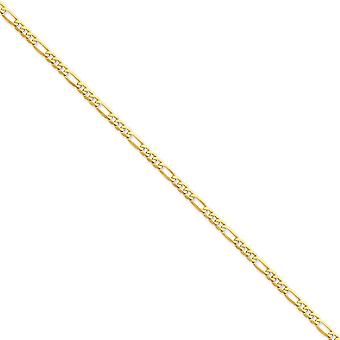 14k Yellow Gold Solid Polished Lobster Claw Closure 4mm Flat Figaro Chain Necklace - Lobster Claw - Length: 16 to 30