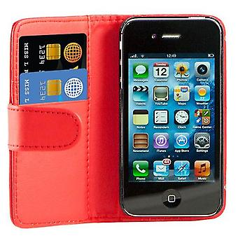 Book Leather Case Cover For Apple iPhone 4 4S + Screen Protector, Cleaning Cloth and Touch Stylus - Red