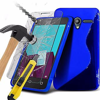 iTronixs - Sony Xperia Z5 Compact S-Line Wave Gel Case Skin Cover With Tempered Glass - Blue