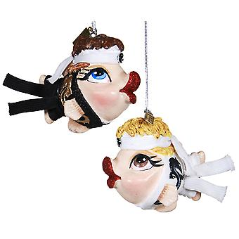 Martial Arts Kissing Fish Holiday Ornaments Set of 2 Katherines Collection