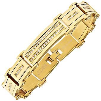 Iced out bracelet zircone cubique en acier inoxydable - or 16mm