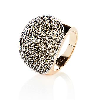 22ct Gold Vermeil Micro Pave Statement Cocktail  Ball Ring - Peridot Zircon