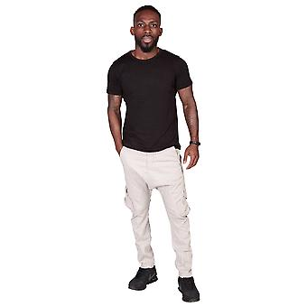 Men's Carrot Fit Tapered Cargo Trousers - Stone Mens Combat Pant Fashion Trouser