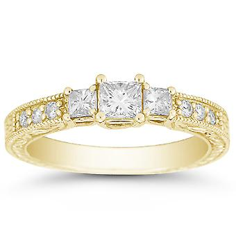 1 Carat Antique-Style Three Stone Princess Cut Diamond Engagement Ring, 14K Yellow Gold