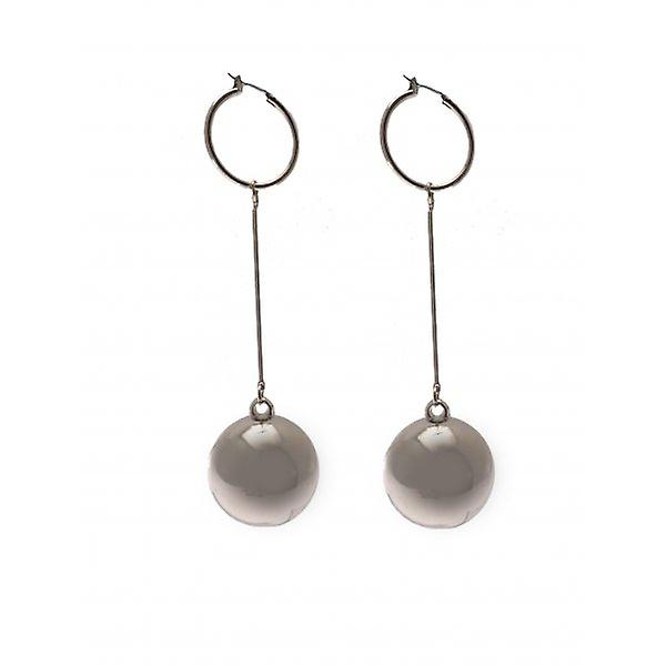 W.A.T Silver Style Large Ball Shaped Fashion Earrings