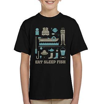 Eten slaap vis vissen Equiptment Kid's T-Shirt