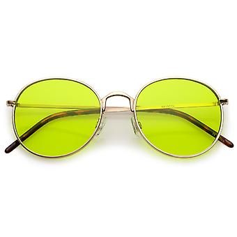 Смелые цельнометаллическая рама круглые очки с цвета тонированные плоских линз 52 мм