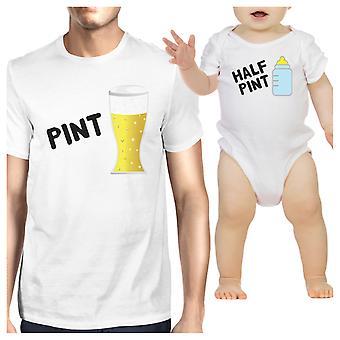 Pint öl halv Pint mjölk pappa och Baby matchande Graphic Tee Shirts