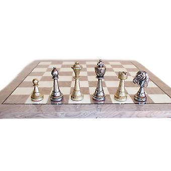 Staunton Metal Chess Set With Grey and Ivory Wood Veneer Board