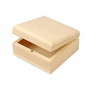 Basic Wood Hinged Lid Box & Magnetic Closure to Decorate 6x6x3.5cm