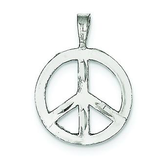 Sterling Silver Solid Polished Flat back Sparkle-Cut Not engraveable Peace Symbol Charm - 2.5 Grams