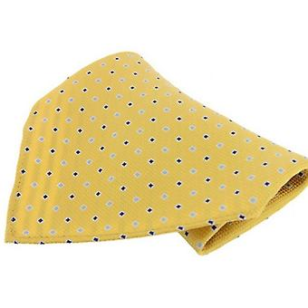 David Van Hagen Neat Pattern Silk Handkerchief - Yellow