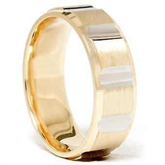 Mens 7mm 14k Gold Two Tone Swiss Cut Wedding Band Ring