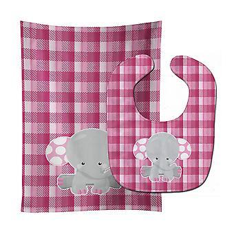 Carolines schatten BB6952STBU olifant roze pastel Baby Slabbetje & Burp doek