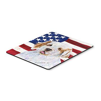 USA American Flag with Clumber Spaniel Mouse Pad, Hot Pad or Trivet