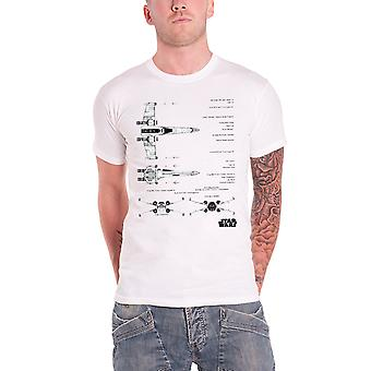 Star Wars Mens T Shirt White X-Wing Fighter Blueprint Force Awakens Official