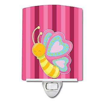 Carolines Treasures  BB9058CNL Butterfly Pink Ceramic Night Light