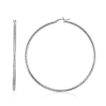 10k Fine White Gold Diamond Cut Hoop Earrings