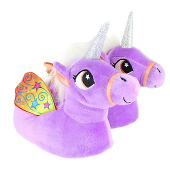 Children's Kids Girls Pastel Purple Unicorn Slippers With Wings