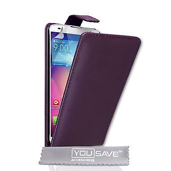 Yousave Accessories LG G Pro 2 Leather-Effect Flip Case - Purple